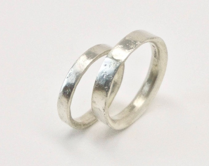 White Gold Distressed Texture Wedding Ring Set - 9 Carat Gold