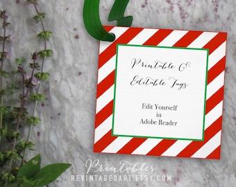 Christmas Tags, Blank Editable Christmas Gift Tag Template // Printable Tag // 3 inch 3x3 PDF DIY Digital Download Red and Green Tags