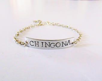 Chingona childhood bracelet ( name bracelet, latinx bracelet, chingona, child bracelet, baby name bracelet)