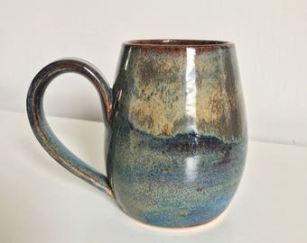 17 oz Handmade Mug / Wheel Thrown  / Blue / Green / Brown