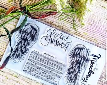 Grace So Sweet Stamps Christian Stamping Amazing Angel Wings Wing Hymn Faith Jesus Worship Bible Journaling Art Growing Meadows Tai Bender