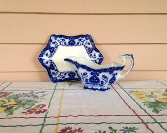 "Flow Blue Gravy Boat and Under-tray ""OXFORD"" Pattern"