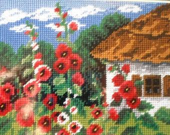 Needlepoint tapestry kit, HOUSE in a flowered garden, 18 x 24 cm, AR1798
