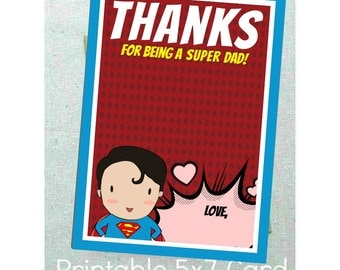 Instant Printable Father's Day Card 5x7 'Thanks for being a super dad!' Gift Card Father Dad Printable Card