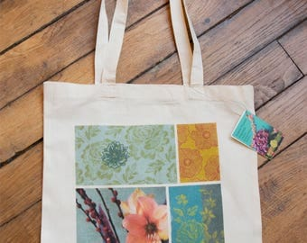 """Totebag """"daily"""" printed with a flowering, photo patch to wear on the shoulder, natural cotton"""