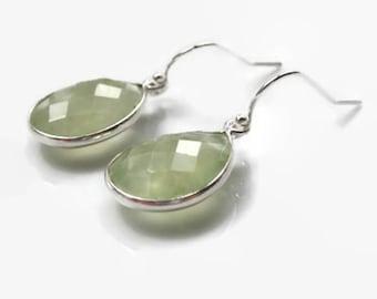 Prehnite earrings, teardrop earrings, green gemstone earrings, green jewellery