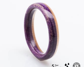 Recycled Skateboards Ring, Wooden Ring, Wedding ring Waterproof