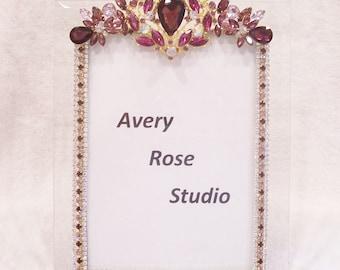 5x7 Jeweled Beveled Glass Picture Frame. Wonderful Holiday, Birthday, Anniversary, Wedding, Shower, Graduation Gift.