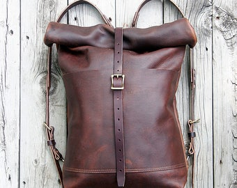 LEATHER ISABELLA ROLLTOP Backpack | Kodiak Oil-tanned Leather | Expandable Size | Lifetime Guarantee