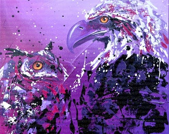 Painting of an eagle and an OWL 40x40cm