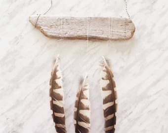 Feather Mobile, Boho Decor, Feather Wall Hanging, Feather Decor, Feather Hanging, Bohemian, Driftwood and Feather Mobile, Boho Wall Hanging