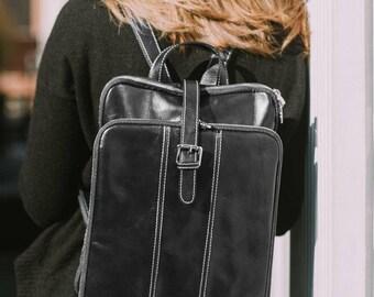 Leather Backpack, Leather Bag, Leather Knapsack, Floto Venezia Knapsack Leather Backpack in Black Full Grain Calfskin Leather (8635BLACK)