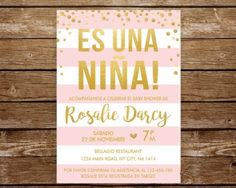 Invitacion baby shower niña spanish baby shower invitation girl baby shower in spanish invitacion rosa y dorado imprimible en español 251