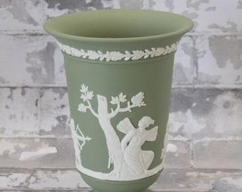 Wedgwood Sage Green Jasperware Footed Vase