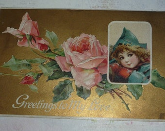 Pretty Little Brundage Girl With Catherine Klein Roses Unsigned Valentine Postcard