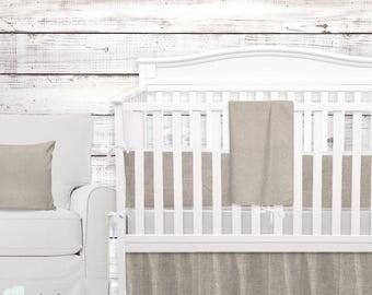 Tan & White Linen Baby Crib Bedding| Tan and White Linen Gender Neutral Nursery | Tan Baby Bedding Set | Tan Crib Bedding Set