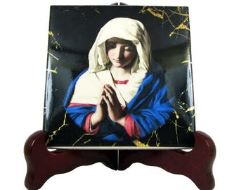 Virgin Mary in prayer - Religious gifts - Madonna icon on tile - religious icon religious gift from a religious painting by Sassoferrato