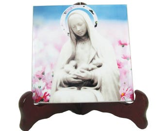 Catholic gifts - Our Lady of Guadalupe Patroness of the unborn babies - catholic icon on ceramic tile - Our Lady of the Unborn catholic art