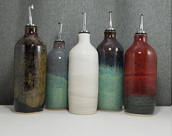 IN STOCK* Ceramic olive oil cruet, pottery oil bottle, oil and vinegar ceramic bottle, Candy Red