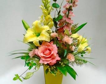 Summer Floral Table Arrangement, Summer Floral Centerpiece, Floral Arrangement, Floral Arrangement, Faux Floral Centerpiece