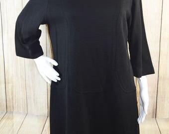 Vintage 1960s Betty Hartford Wide Rib 3/4 Sleeve Stretch Sheath Dress Large