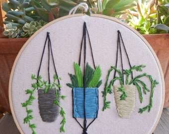 Hoop Art- Hanging Potted Plants Trio