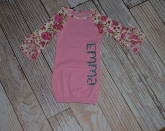 Floral and Pink Personalized Baby Gown Coming Home Outfit for Newborn~Hospital Gown for Infant