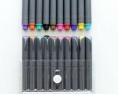 Fineliner Color Pen Set Marker, 0.38mm Colored Fine Line Point, Assorted Colors Planner and stationery pen,10-Count
