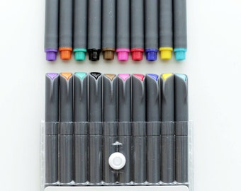 Fineliner Color Pen Set Marker, 0.38mm Colored Fine Line Point, Assorted Colors Planner and stationery pen,10-Count