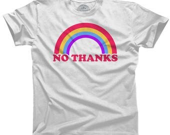 Rainbow No Thanks - No Thank You Sarcastic Shirt Ironic Shirt - Nope Shirt - Introvert Feminist Shirt (See SIZING INFO in Item Details)