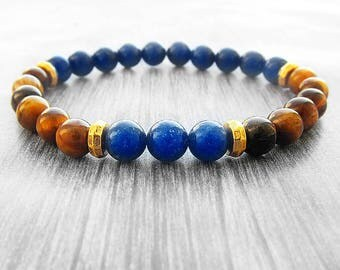 Throat chakra bracelet for Men bracelet Lapis lazuli bracelet lapis bracelet Harmony bracelet protection bracelet Tiger eye jewellery Mens