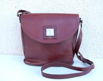 Vintage Brown Leather Saddle Bag Small Saddle Bag Cross Body Purse  Distressed Genuine Leather Shoulder Bag Hippie Boho Artisan 70s