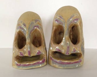 Signed KW 1960s Art Pottery Bookends Artist Made Ceramic Head Face Pair Vintage