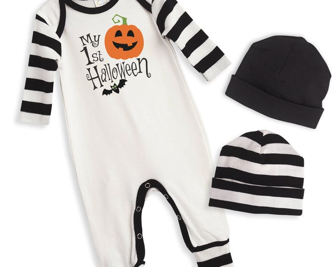 Newborn First Halloween Romper Black and Orange Pumpkin, Baby Unisex Costume Black Orange, Jack-O-Lantern Bodysuit, Tesababe