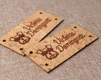 Vegan leather labels, cork leather labels, logo labels, knitting labels, personalized label tags, set of 25