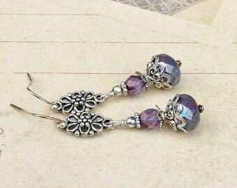 Lavender Earrings, Purple Earrings, Silver Earrings, Purple Dangle Earrings, Long Earrings,Czech Glass Beads, Gifts for Her, Womens Earrings
