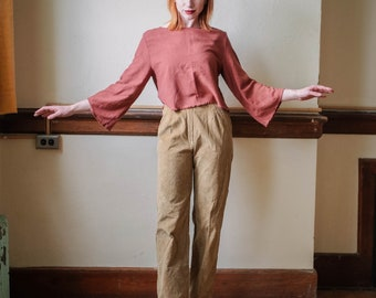 high rise corduroy trousers
