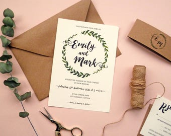 Botanical Wreath Wedding Invitation | Greenery Wedding Invite, RSVP and Details | Sample set