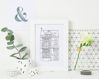 Custom House Portrait | Hand-drawn illustrated print | New Home Gift