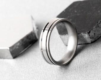Men's Narrow Stainless Steel Band With Matt Stripes, Wedding Band, Men's Jewellery, Plain Band, Men's Ring, Gift for Him