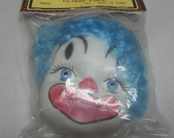 2 Blue Haired Flat Clown Doll Heads