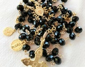 Rosary - Crusader Cross French Vintage Black Crystal - 18K Gold Vermeil