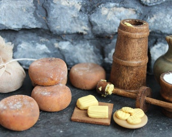 12th scale Medieval Tudor dairy parlour. Dollhouse butter churn, cheeses butter and milk. Miniature food, one inch period dollshouse