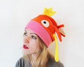 Pokemon Magikarp koi karp fish inspired fleece slouchy cosplay beanie hat with ears, fins, cute face and tail, gift for cosplayer friend
