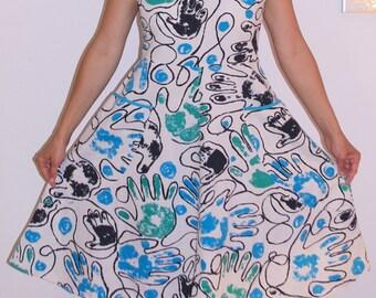 Soviet Tea Dress White Blue Black Polish Cotton Linen 1980's Sun Dress Short Sleeves Full Skirt Summer Dress Poland SIZE S-M Sundress modern