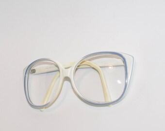 Polish vintage reading glasses spectacle frame hipster glasses plastic frames blue white eyewear eyeglasses retro glasses soviet eyewear 80s