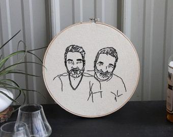 Custom Couple Portrait - Hand Embroidered Hoop Wall Art - Custom Wedding Gift - Minimalist Art - Contemporary Wall Art