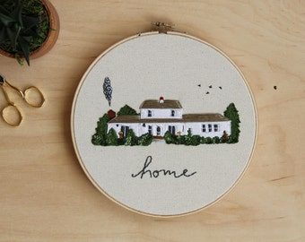 Custom Home Portrait in color - Hand Embroidery Hoop Wall Art  - New Home - Custom Wedding Gift - Housewarming wall decor