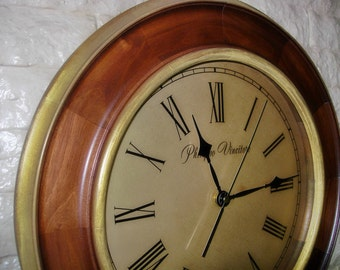 "Large New Wall Clock 16.5 inches ""Philippo Vincitore"" - ""Golden Rings"""