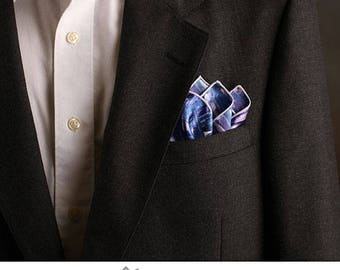 Blue and White Pocket Square, Pocket Handkerchief, Fashion Accessories, Beachy Pocket Square